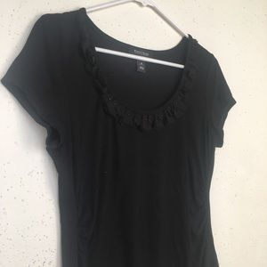 White House Black Market Scoop Neck Ruffles Blouse